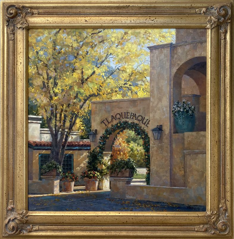 Darcie Peet Getting Ready For Christmas Tlaquepaque Sedona Arizona architecture western oil painting framed
