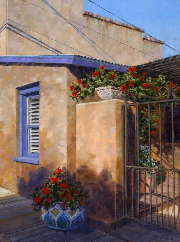 Darcie Peet Shadow Patterns and Scarlet architectural adobe Tucson flowers oil painting