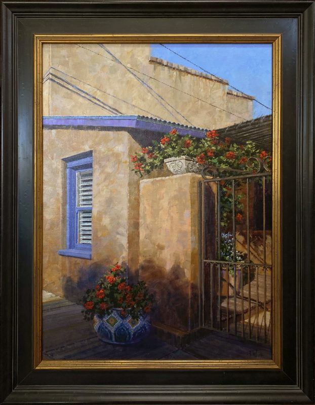 Darcie Peet Shadow Patterns and Scarlet architectural adobe Tucson flowers oil painting frame