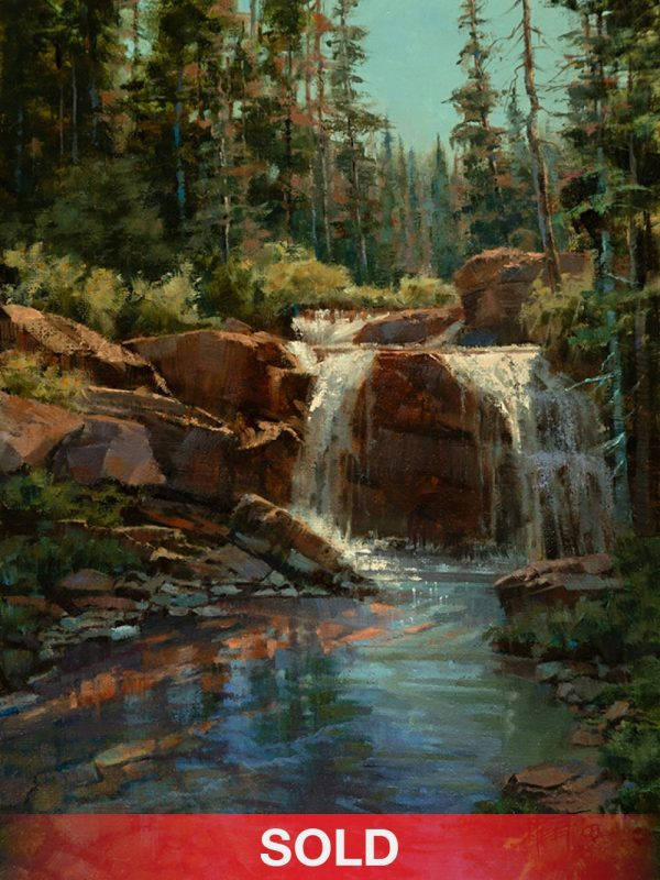 Darcie Peet Sun Sparkles Aqua water stream river waterfall western oil landscape painting