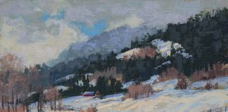 Darcie Peet Welcome Breath of Sunshine snow hills mountains western acrylic landscape painting