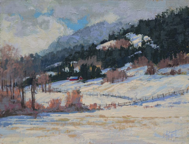 Darcie Peet Welcome Breath of Sunshine snow hills mountains western oil landscape painting