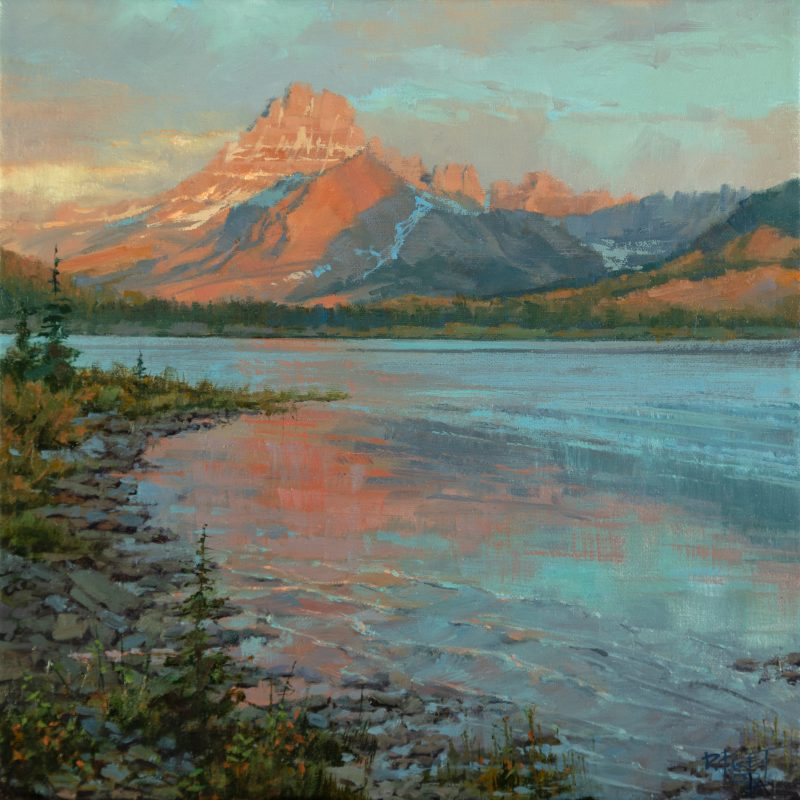 Darcie Peet Drifting Dawn Storm mountain lake river trees snow western oil landscape painting
