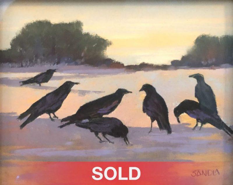 Elizabeth Sandia Ravens Of Windmill Ridge landscape birds wildlife pastel painting SOLD