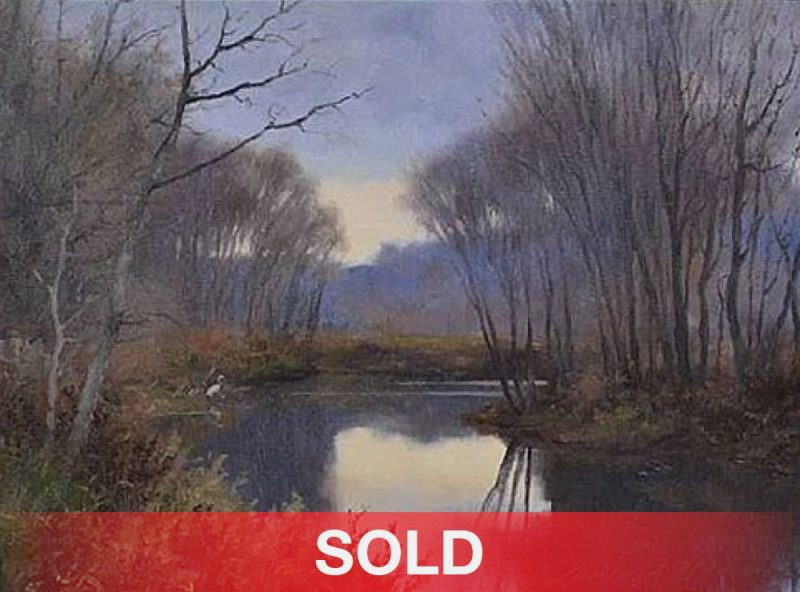 Landford Monroe stream trees heron bird wildlife oil painting