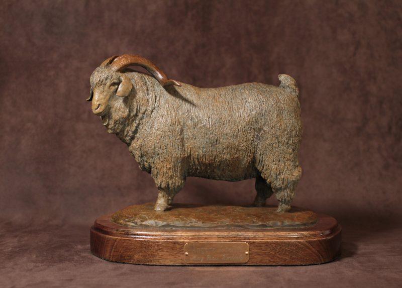 Mary Ross Buchholz Angora Champ sheep goat western bronze sculpture