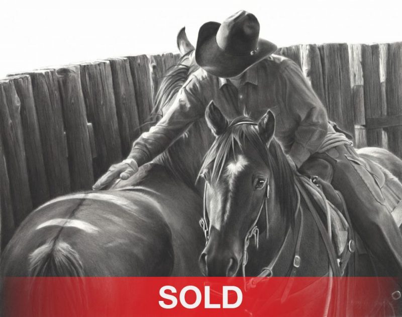 Mary Ross Buchholz Gentlin' Touch cowboy horses equine pencil drawing western painting ranch sold