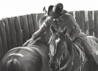 Mary Ross Buchholz Gentlin' Touch cowboy horses equine pencil drawing western painting ranch