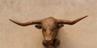 Mary Ross Buchholz Longhorn Hat Hook cattle cow western bronze sculpture