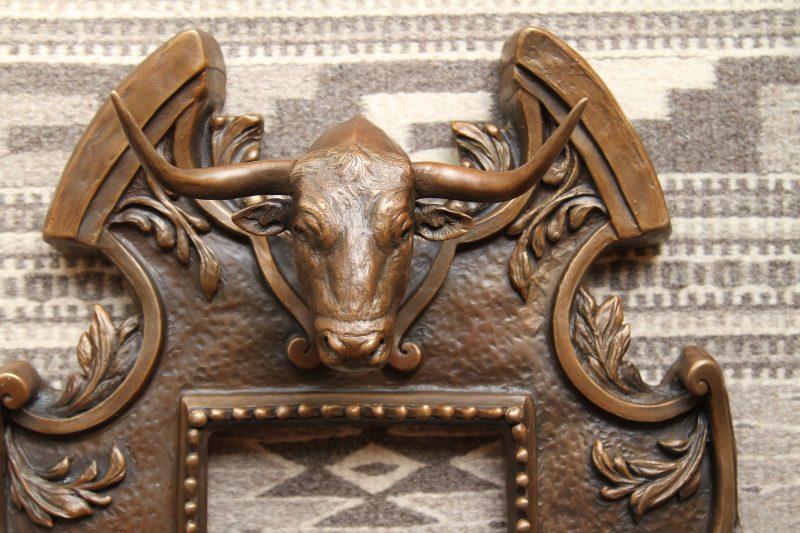 Mary Ross Buchholz longhorn mirror western sculpture western bronze cattle close up