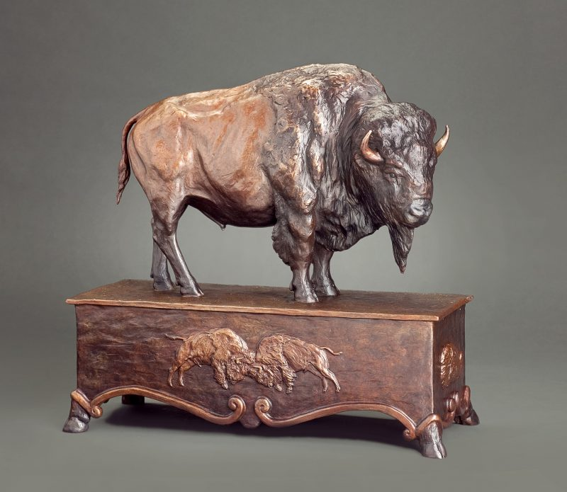 Mary Ross Buchholz Patriarch Of The Plains buffalo bison wildlife western bronze sculpture