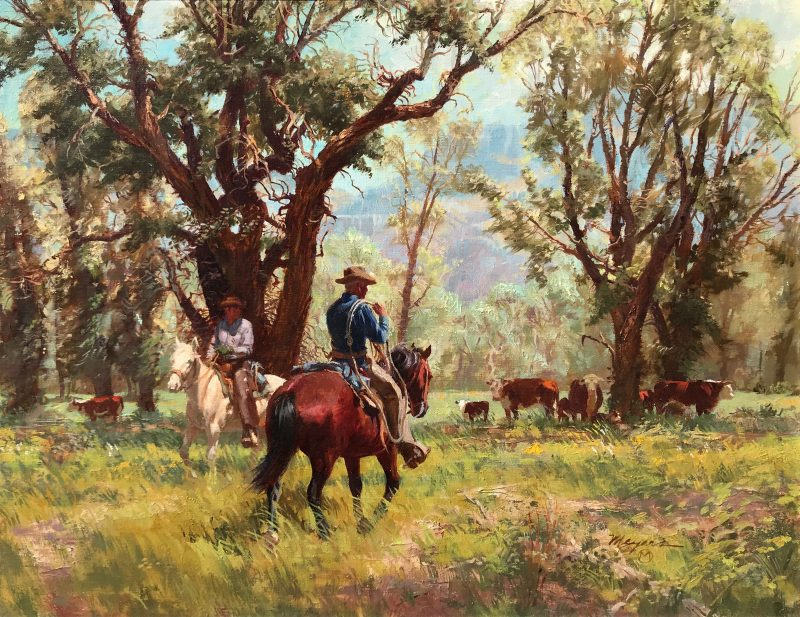 "Robert Meyers ""Lower Cow Pastures"" cowboy horse equine cattle cows calf ranching cowboying western oil painting landscape"