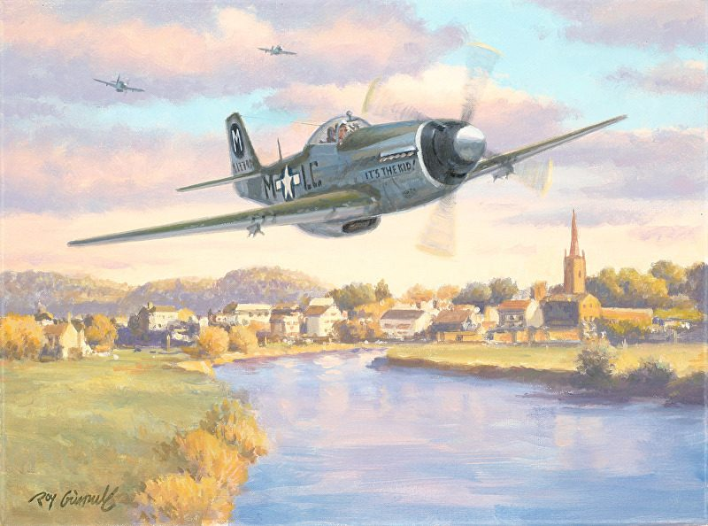Roy Grinnell Mission Completed military airplane over town city aviation oil painting