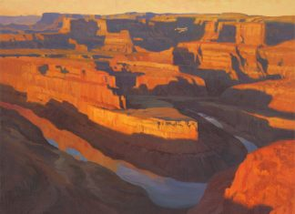 "Roy Grinnell ""Passing Dead Horse Point"" oil painting western landscape oil painting gorge canyon"