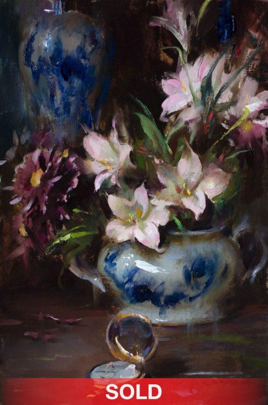 Daniel Gerhartz A Gift Of Time still life porcelain vase tea pot impressionistic oil painting