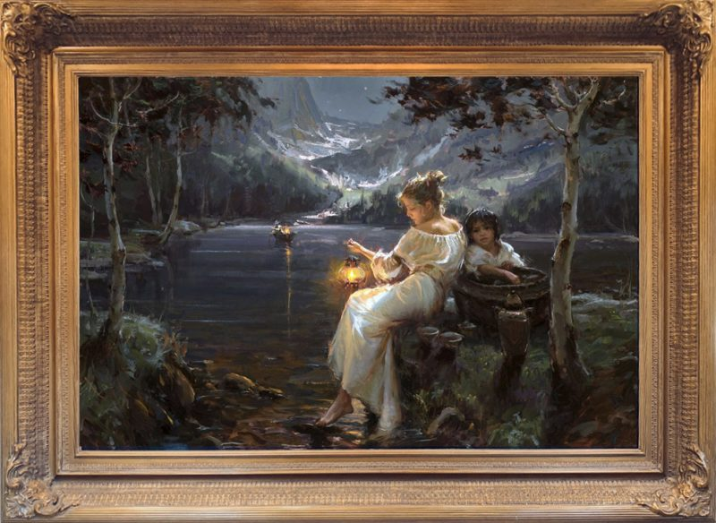 Daniel Gerhartz Till You Come To Me lake snowy mountains boat figurative oil painting framed