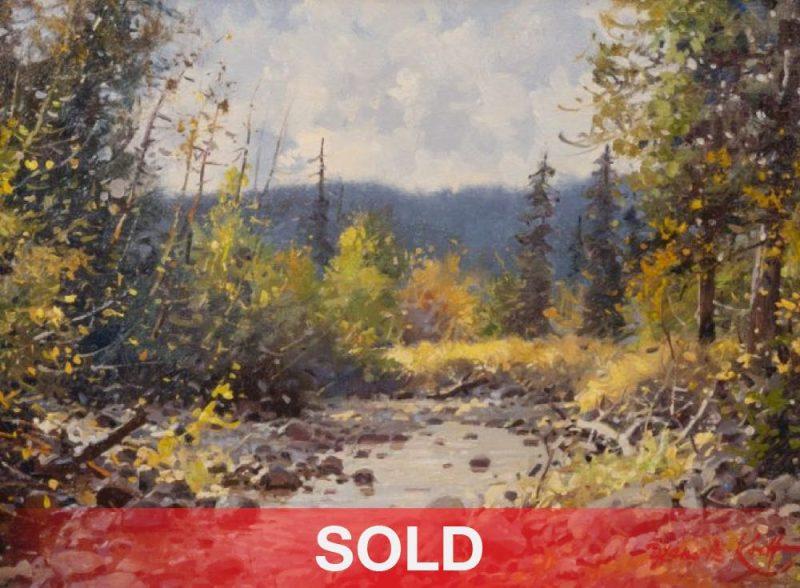 Francois Koch Sunlit Stream high mountain river western oil painting