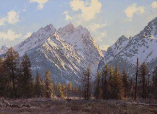 Francois Koch The Teton Range Wyoming mountains landscape western oil painting