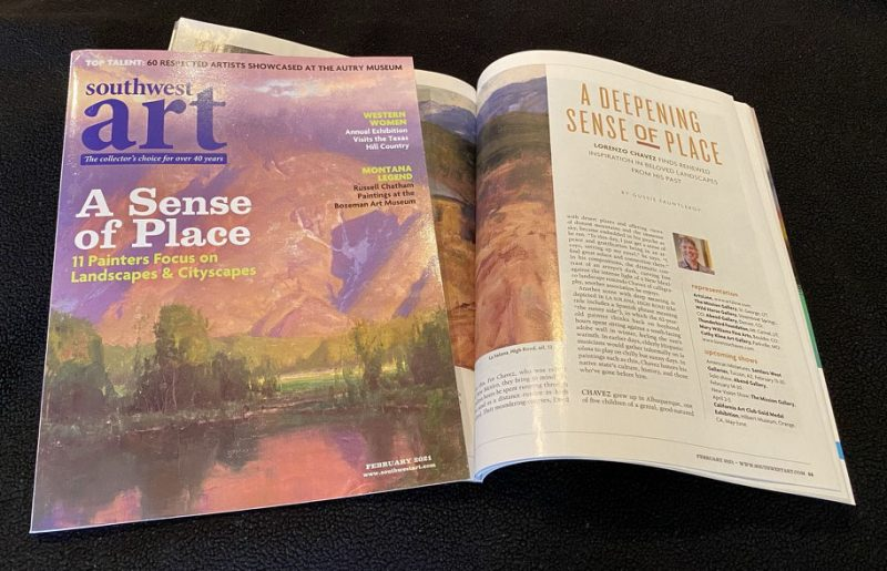 Lorenzo Chavez Southwest Art Magazine feature article February 2021