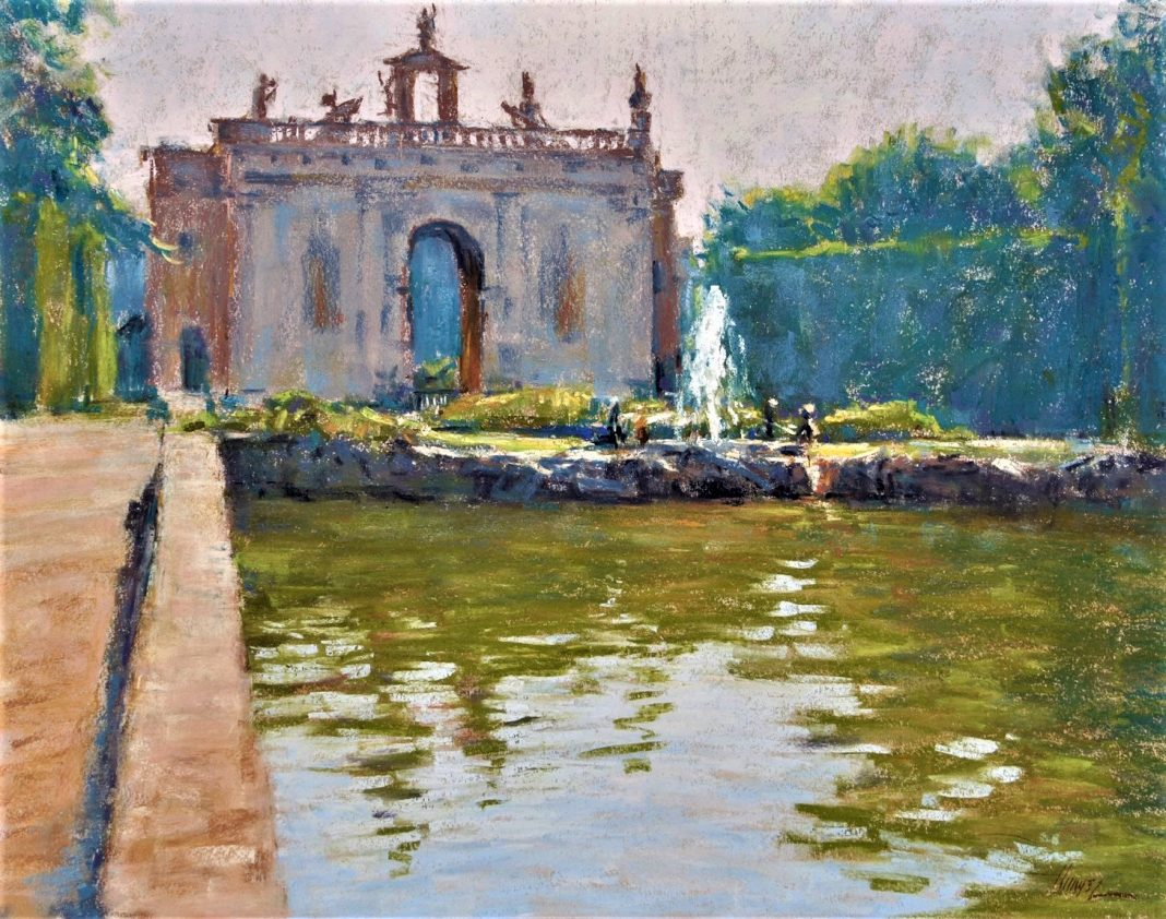 Lorenzo Church Reflection Pond Italian Garden pastel painting architecture Europe