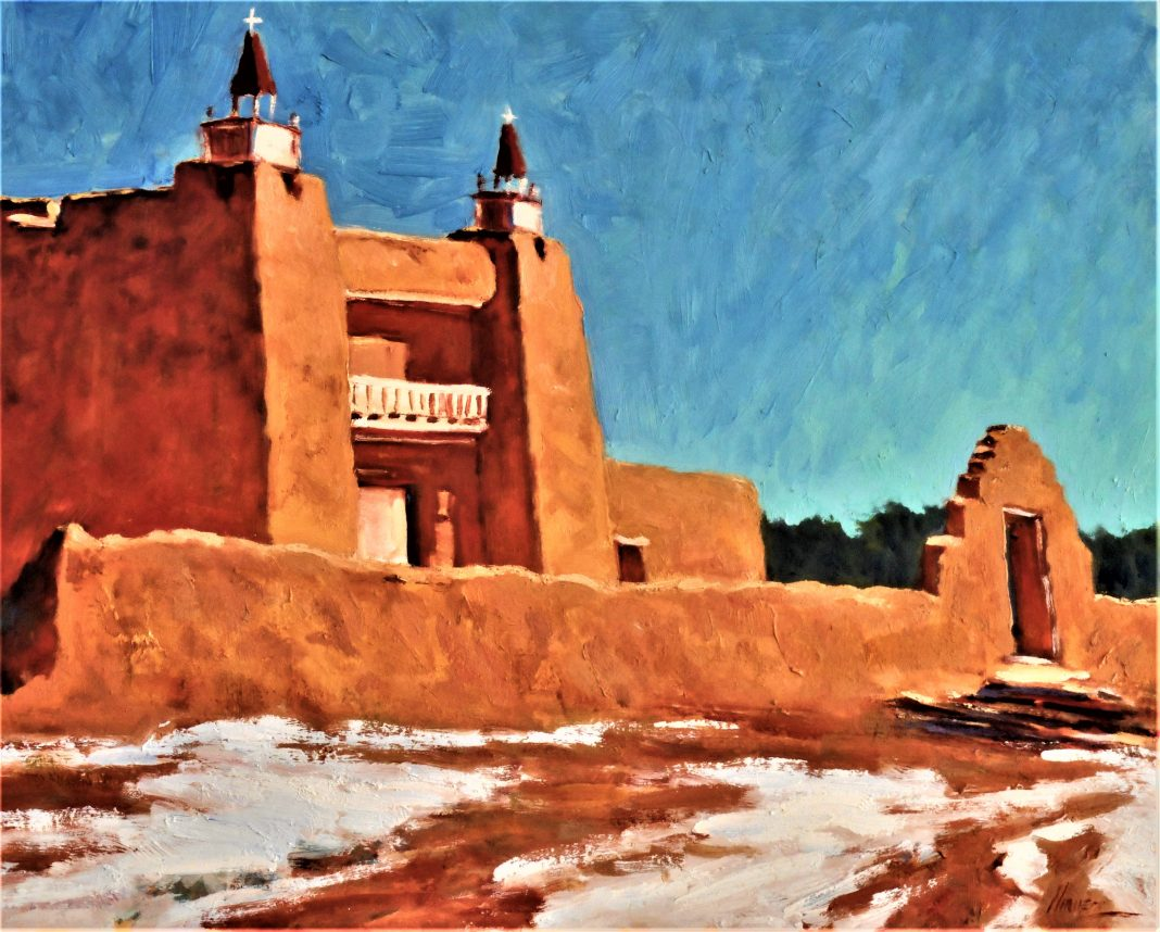 Lorenzo Chavez San Jose Church New Mexico adobe religion architecture oil painting