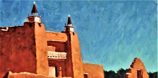 Lorenzo Chavez San Jose Church New Mexico adobe religion architecture oil painting