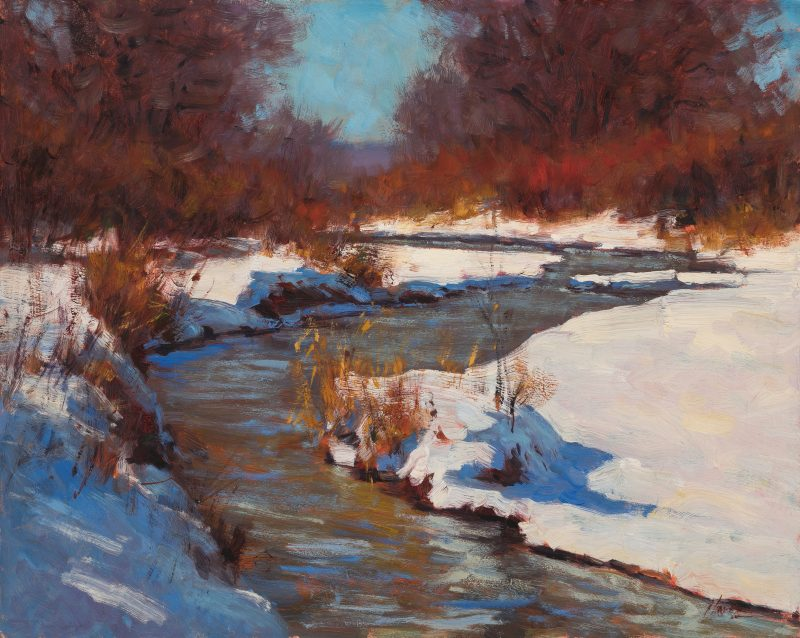 Lorenzo Chavez Spring Creek snow high mountains stream river western landscape oil painting