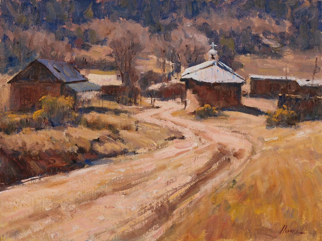 Lorenzo Chavez Sun Silence and Adobe New Mexico landscape architecture oil painting church