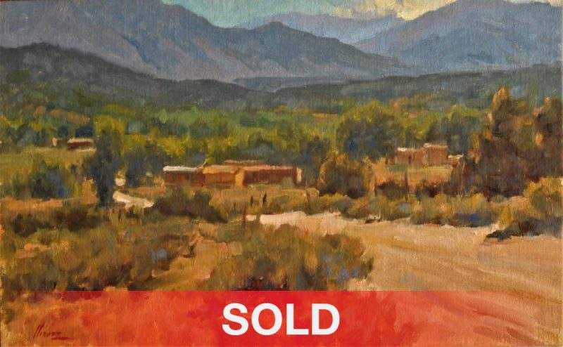 Lorenzo Chavez The View From Arroyo Hondo New Mexico pueblo adobe architectural western landscape oil painting sold