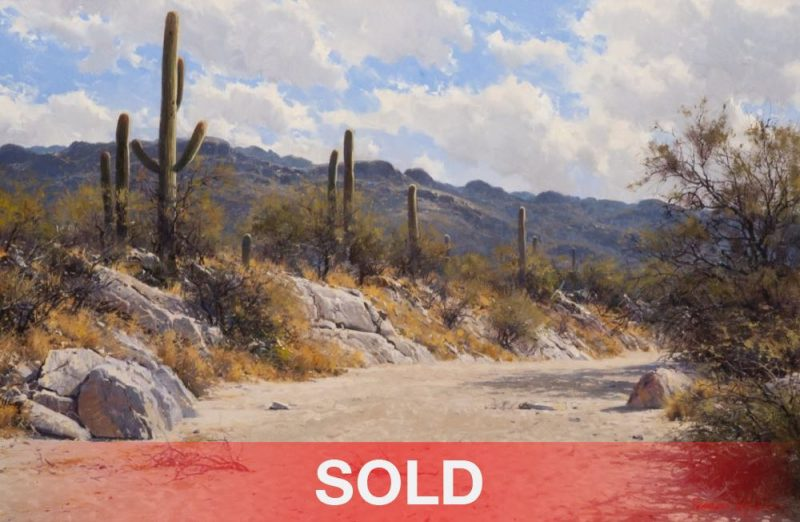 Francois Koch Clouds Over The Rincons desert Arizona saguaro cactus river bed western landscape oil painting
