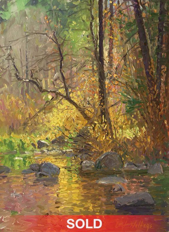 Curt Walters Golden Reflections stream creek Oak Creek Canyon Sedona, Arizona landscape oil painting sold