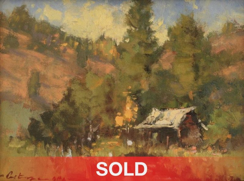 "Gene Costanza ""A Little Cabin Fever"" forest barn mountains western landscape oil painting"