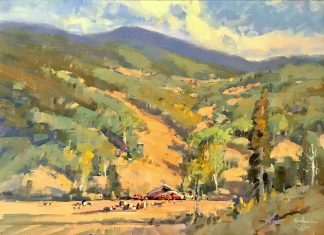 Gene Costanza August South Of Town Jackson Wyoming farm ranch cattle cow equine horse landscape oil painting