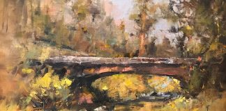 Gene Costanza Bridge In The Woods river stream landscape oil painting