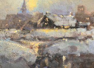 Gene Costanza Frost Bite snow buildings oil painting landscape