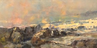 Gene Costanza Ocean Spray Study seascape ocean beach surf coast coastline crashing waves oil painting