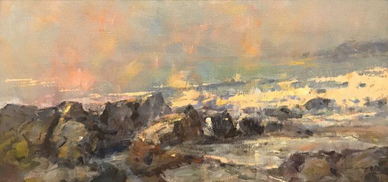 Gene Costanza Ocean Spray Study ocean beach seascape surf crashing waves on rocks coast coastal oil painting