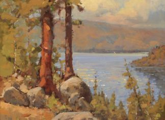 Gene Costanza Over Emerald Bay Lake Tahoe Nevada lake trees mountains rocks western landscape oil painting