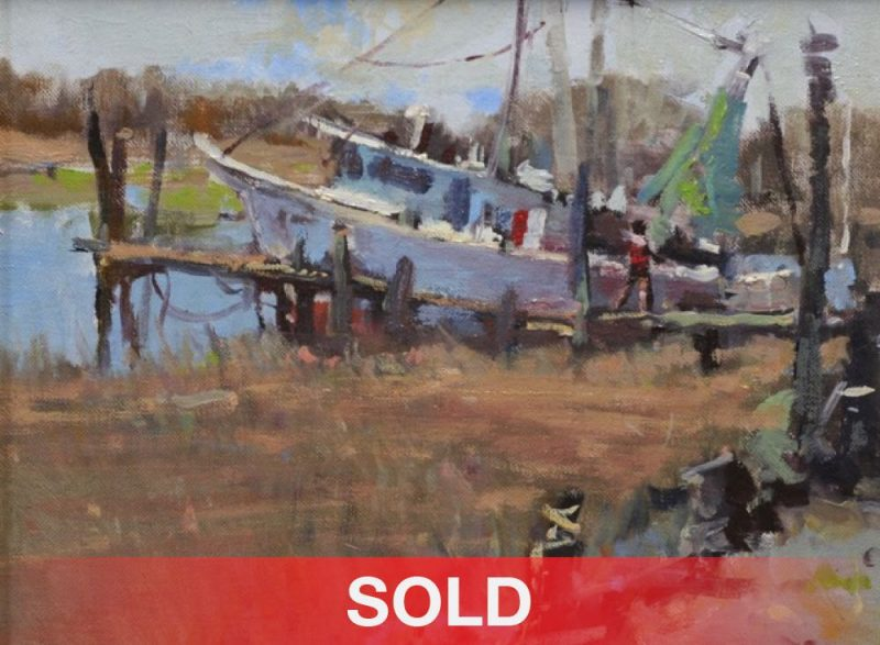 Gene Costanza Shrimper fishing boat oil painting