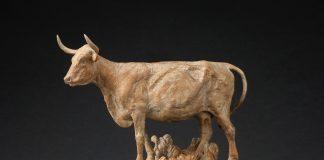 Jason Scull Sheltered longhorn cattle steer western bronze sculpture