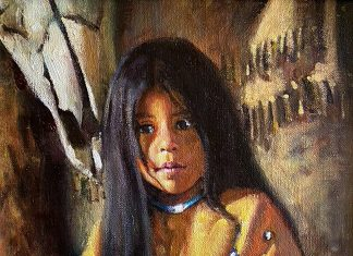 Phil Beck Treasures Past Native American girl portrait western painting