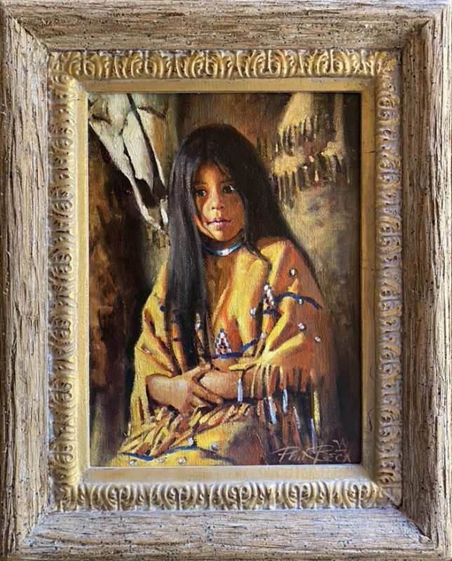 Phil Beck Treasures Past Native American girl portrait western painting framed