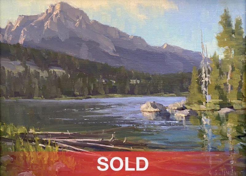 Aaron Schuerr Taggart Lake Log Jam high mountain lake Wyoming western oil landscape painting sold