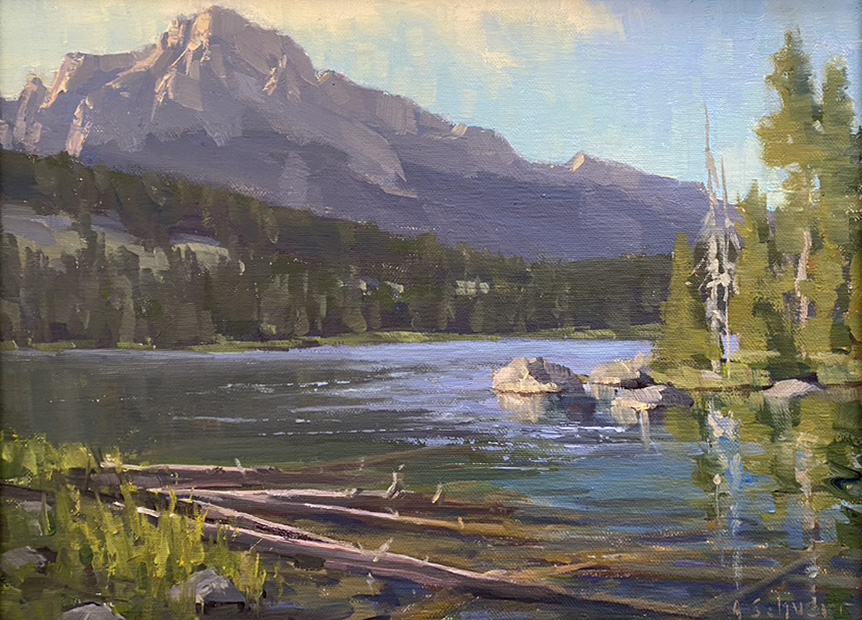 Aaron Schuerr Taggart Lake Log Jam high mountain lake Wyoming western oil landscape painting