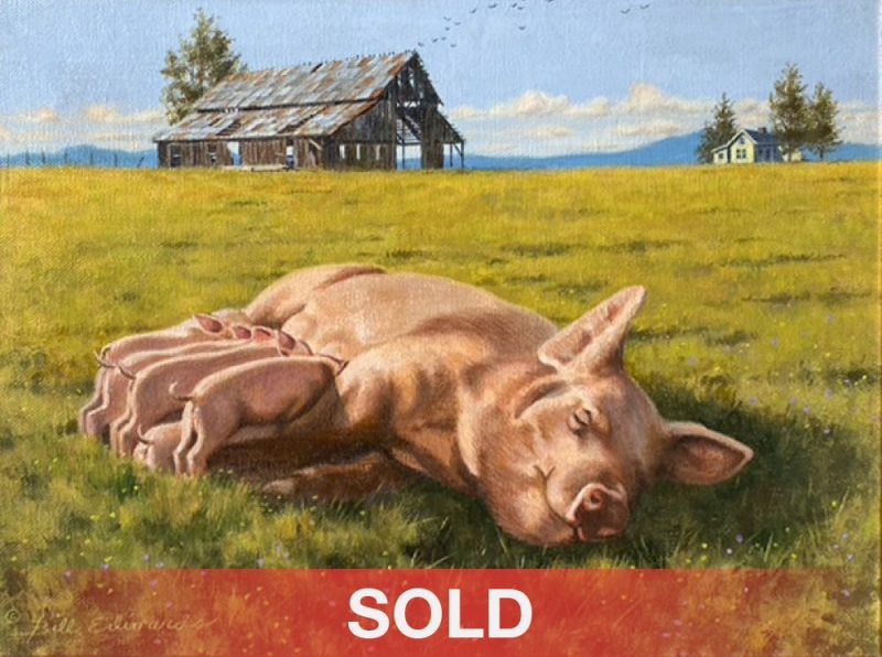 Bill Edwards Pigging Out mother pig nursing piglets farm ranch western oil painting sold