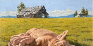 Bill Edwards Pigging Out mother pig nursing piglets farm ranch western oil painting