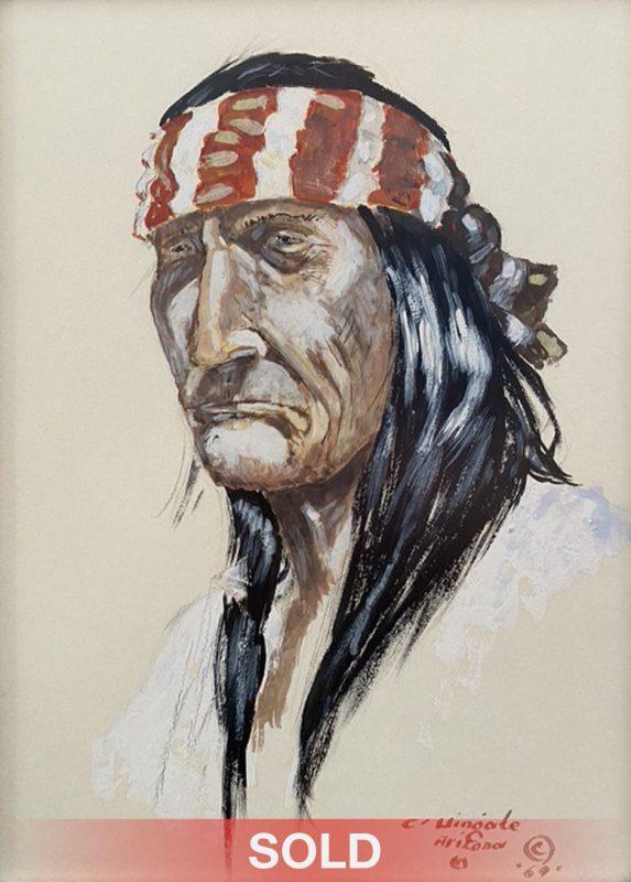Curtis Wingate Apache Man Native American portrait western watercolor painting