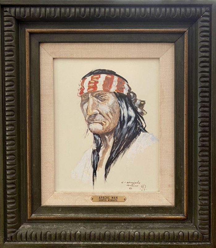 Curtis Wingate Apache Man Native American portrait western watercolor painting framed