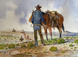 Curtis Wingate Roundup cowboy horse cattle western watercolor painting