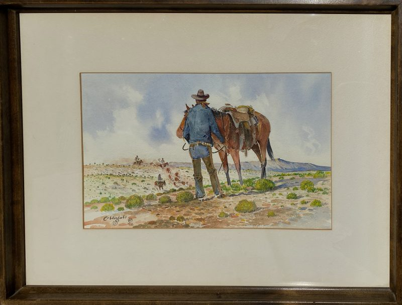 Curtis Wingate Roundup cowboy horse cattle western watercolor painting framed